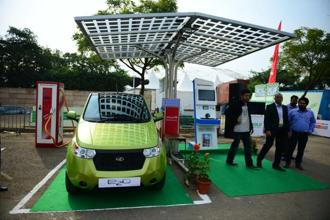 The Mahindra e2o at the 12th Delhi Auto Expo. More and more policymakers see electric vehicles as a necessity in India. Photo: Pradeep Gaur/Mint