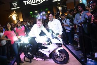 The launch of Triumph's Daytona 675 at the Delhi Auto Expo 2014. Photo by Ramesh Pathania/Mint