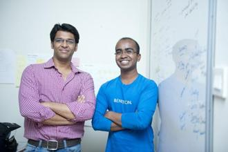 Sachin Gupta (left) and Vivek Prakash developed HackerEarth, a Web-based community and assessment platform where coders can build their profiles, interact with one another and link coding projects from other websites. Photo: Aniruddha Chowdhary/Mint