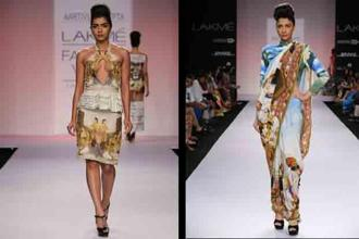Portraits and flora and fauna featured in Aarti Vijay Gupta's collection Indian Miniature Paintings which was a tribute to the 16th-19th centuries. Photos: Lakme Fashion Week