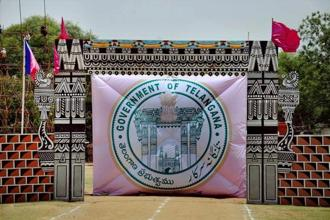 Eleven ministers, who will be part of K.C. Rao's Telangana cabinet, took oath of office and secrecy by governor E.S.L. Narasimhan, who holds the charge for both Telangana and Andhra Pradesh. Photo: PTI