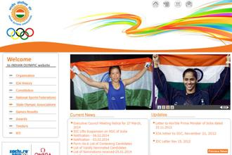 A screen grab of Indian Olympic Association website.