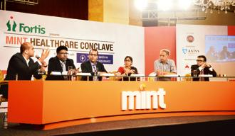 Panellists discuss the role of Big Data in healthcare at the Mint Healthcare Conclave. Photo: Ramesh Pathania/Mint