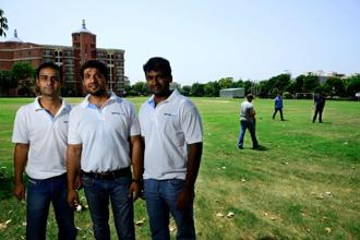 From left: Nikhil Jha, Vivek Kumar and Srikumar Nair of SportsWave. Photo: Pradeep Gaur/Mint