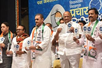 Nationalist Congress Party chief Sharad Pawar along with NCP leaders during the party's campaign launch for the Maharashtra assembly elections in Mumbai on 6 September. Photo: PTI