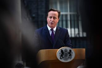 British Prime Minister David Cameron addresses the media outside 10 Downing Street in London on Friday, following results in the Scottish referendum on independence. Photo: Carl Court/AFP
