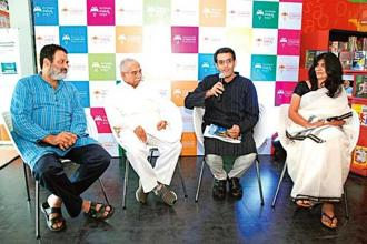 T.V. Mohandas Pai, Chandrashekhar Kambar, Vikram Sampath and Shinie Antony at the inaugural press conference of the Bangalore Literature Festival.