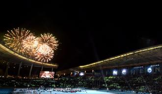 Fireworks light up the sky at the end of the closing ceremony of the 2014 Asian Games at the Incheon Asiad main stadium in Incheon on Saturday. Photo: Pornchai Kittiwongsakul/AFP