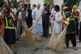 One other issue public sector banks face is government interference. On 2 October, a public holiday, banks had to be kept open and bankers were seen sweeping the branch premises to show solidarity with Prime Minister Narendra Modi's Swachh Bharat Mission. Photo: PTI