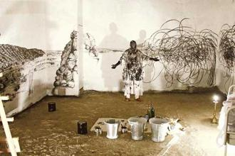 Live performance art by Nikhil Chopra. Photo: Courtesy Apparao Galleries