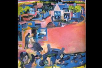 Bhupen Khakhar's Pink City 1991 representative of the graphic impressions of neighbourhoods and the local touches in his art