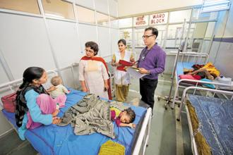 A separate room is allocated to an NRC to treat children suffering from severe acute malnutrition and protein energy malnutrition. Photo: Priyanka Parashar/Mint