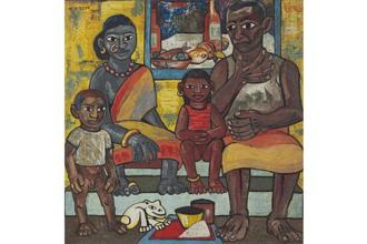 Francis Newton Souza, Untitled (Indian family) (1947) Oil on board 119.6 x 11.2cm Estimate: <span class='WebRupee'>Rs.</span>4.5 crore-<span class='WebRupee'>Rs.</span>6 crore.