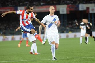 A file photo of a match between ISL teams Atletico de Kolkata and Mumbai City FC. Photo: Indranil Bhoumik/Mint