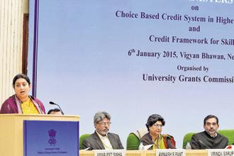 HRD minister Smriti Irani (first from left) addresses the state education ministers' conference on Tuesday. Photo: PTI