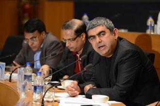 Having taken charge on 1 August, chief executive officer Vishal Sikka has been trying to rebuild the fortunes of the company that was once the bellwether of the $118 billion Indian information technology industry before falling on hard times. Photo: Bloomberg