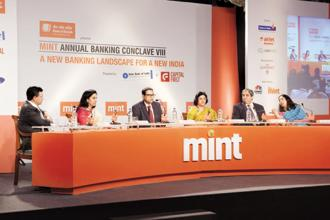 (Left to right) Sunil Kaushal, Chanda Kochhar, Tamal Bandyopadhyay, Arundhati Bhattacharya, Aditya Puri, and Shikha Sharma, during Mint annual banking conclave 2015 in Mumbai on 29 January 2015. Photo: Abhijit Bhatlekar/Mint