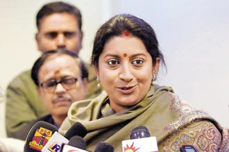 In a meeting that lasted for five hours on Sunday, HRD minister Smriti Irani invited suggestions of around 75 institutions working in the skill development sector. Photo: PTI