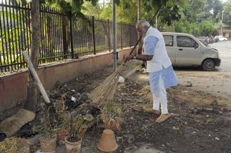 Prime Minister Narendra Modi participating in the Swachh Bharat Abhiyan. The NDA govt committed last year to spend Rs1.34 trillion to build more than 110 million toilets all over India by 2019. The current budgetary allocation is Rs4,260 crore. Photo: Mint
