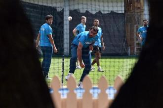 Mohammed Shami during a practice session in Sydney on Wednesday. Photo: Saeed Khan/AFP