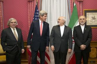 US energy secretary Ernest Moniz, US secretary of state John Kerry, Iran's foreign minister Mohammad Javad Zarif and the head of the Atomic Energy Organization of Iran Ali Akbar Salehi during nuclear-deal talks in Switzerland in March. Brian Snyder/Reuters