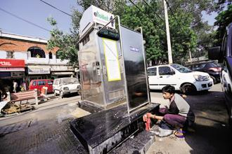 When it comes to building toilets, companies are opting for traditional, low-cost options even though a host of new technologies such as solar-powered e-toilets are available. Photo: Priyanka Parashar/Mint