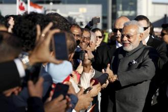Prime Minister Narendra Modi after arriving at the Ottawa Airport in Canada on Tuesday. Reuters