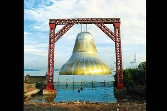 Gigi Scaria's steel-bell installation 'Chronicles Of The Shores Foretold'. Photo: Courtesy Kochi Biennale Foundation