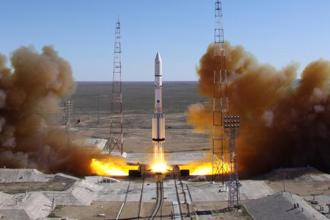 A file picture of a Russian-built Proton rocket with Russian relay satellite Luch-5V and the Kazakh communication satellite KazSat-3. Photo: AFP