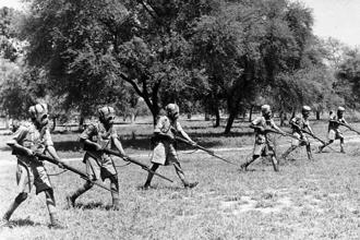 Indian soldiers training with gas masks during World War II. Photo: Keystone/Getty Images