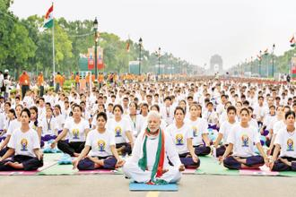 A year into his five-year term, Narendra Modi has given the world a day to celebrate yoga, a discipline he calls India's gift to the world. Photo: Ajay Aggarwal/ Hindustan Times
