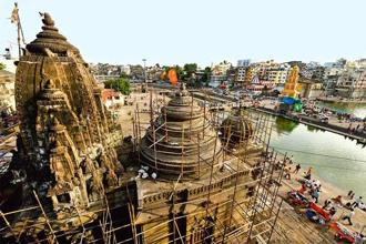 Photographs by Abhijit Bhatlekar/Mint. Ahead of the Sinhastha Kumbha, several temples at Ram Kund, Nashik, are undergoing repair.
