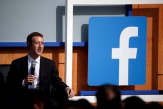 Facebook CEO Mark Zuckerberg speaks on stage during a town hall with Prime Minister Narendra Modi at Facebook's headquarters in California. Photo: Reuters