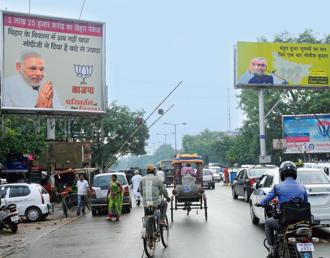 Ahead of the elections, campaign posters of Narendra Modi and Nitish Kumar have come up all over Bihar. Photo: HT
