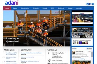A screen grab of Adani Group website.