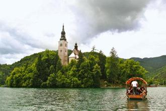 Rowing to the church on Bled island, on Lake Bled. Photographs: Charukesi Ramadurai