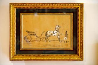'Hitched Carriage And Waiting Groom', by a follower of Alfred de Dreux, second half of 19th century. Graphite, white gouache and red pencil. This drawing became the inspiration for the Hermès logo. Photographs by Abhijit Bhatlekar/Mint