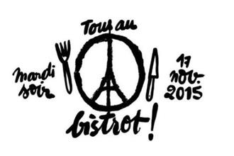 The 'Peace for Paris' sign designed by artist Jean Jullian with the Eiffel tower in the centre has been tweeted with the caption 'Tous au Bistrot' which translates into 'Let's all go to the restaurant,'  @palectric