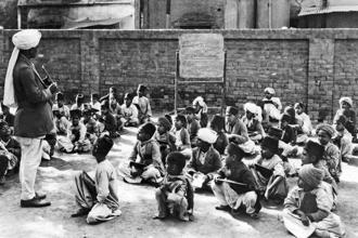 A class in progress in Lahore, Punjab, in 1933. Photo: Getty Images