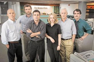 A still from the film 'Spotlight'. After months of investigation, The Boston Globe's Spotlight team blew the lid off one of the Catholic Church's darkest secrets.