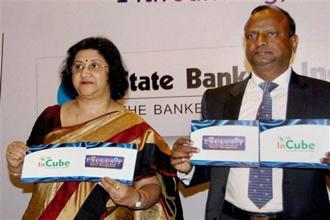Chairperson of SBI Arundhati Bhattacharya and managing director Rajnish Kumar, National Banking Group (NBG) launch SBI Exclusif and SBI InCube. Photo: AP