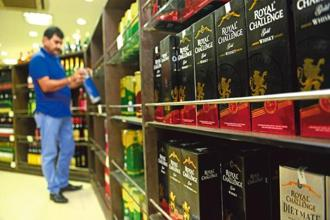 Products of united spirits, displayed in a wine shop in Connaught Place, New Delhi. Photo: Mint