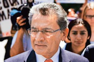 A file photo of Rajat Gupta leaving the Manhattan Federal Court following a guilty verdict in his trial in New York on 15 June, 2012. Gupta started out his prison term in 2014. Photo: Reuters