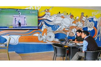 The office canteen is the best place to have a big screen for the World Cup. Photo: Sunil Saxena/Hindustan Times