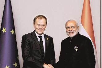 Prime Minister Narendra Modi met European Commission chief Donald Tusk in November on the sidelines of the G-20 meet, where both sides agreed to hold a stock-taking meeting before resuming formal talks. Photo: PTI