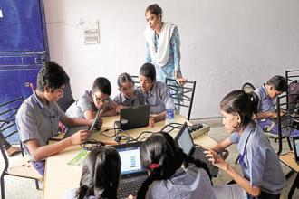 Students at a Dell Connected Classroom. The MNCs have directed their efforts towards education and skilling in India as they find that this is where their expertise can have the greatest impact.