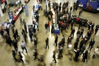 A file photo of a job fair in Washington. The stepdown in job growth could raise concerns that the weakness in overall economic activity was spilling over to the labour market. Photo: Reuters