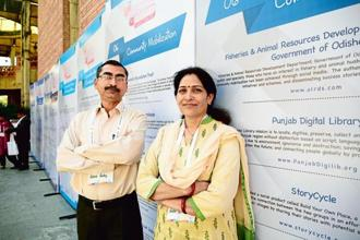 Rakesh Pandey (left) and Radha Shukla believe community radio could be an important engagement platform. Photo: Ramesh Pathania/Mint
