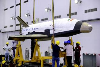 Isro's unmanned re-usable space shuttle RLV-TD which can be brought back to earth after launching satellites and payloads. Photo: Isro