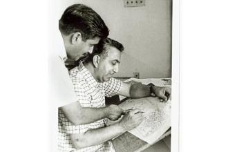Bhushan Kumar and Brij Mohan Anand (seated) at the KBK office in 1971. Photo courtesy BM Anand foundation